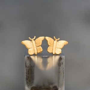 Hand Made Sterling Silver Gold Plated Etched Butterfly Studs
