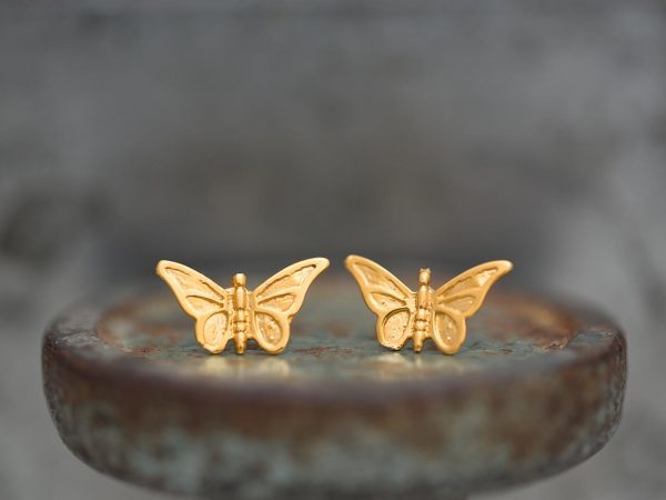 Hand Made Sterling Silver Gold Plated Small Butterfly Studs