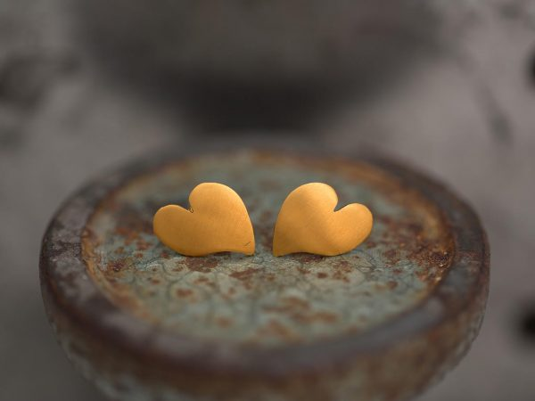 Hand Made Sterling Silver Gold Plated Heart Studs
