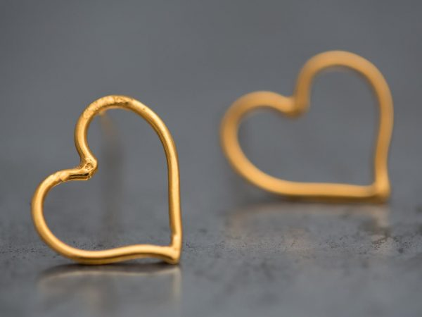Hand Made Sterling Silver Gold Plated Wire Heart Studs