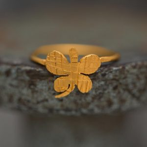 Hand Made Sterling Silver Gold Plated Striped Butterfly Ring