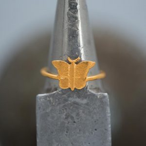 Hand Made Sterling Silver Gold Plated Etched Butterfly Ring