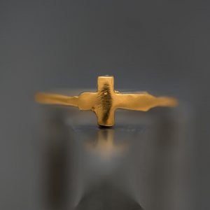 Hand Made Sterling Silver Gold Plated Tiny Cross Ring