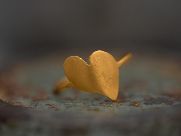 Hand Made Sterling Silver Gold Plated Heart Ring