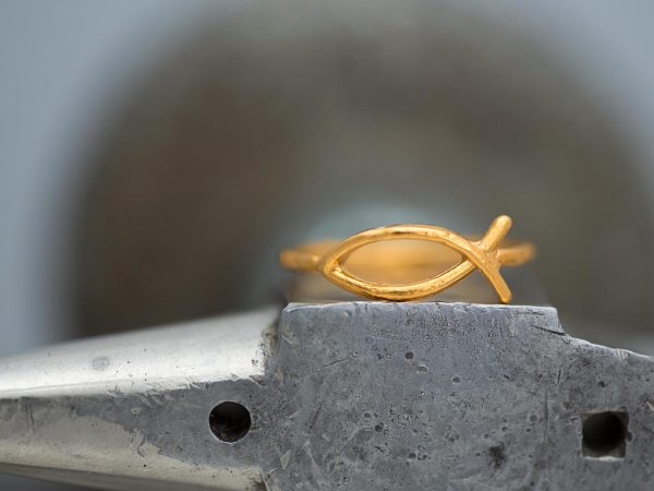 Hand Made Sterling Silver Gold Plated Ichthys Ring