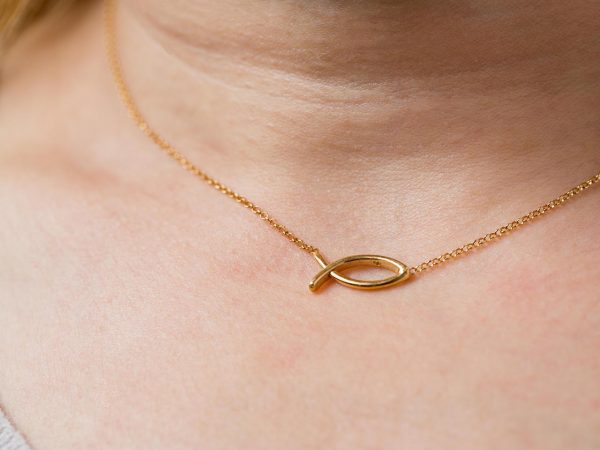 Hand Made Sterling Silver Gold Plated Ichthys Pendant