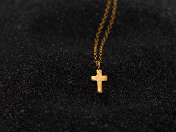 Hand Made Sterling Silver Gold Plated Tiny Cross Pendant