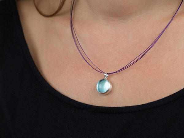 Hand Made Sterling Silver Small Blue Topaz Pastille Pendant