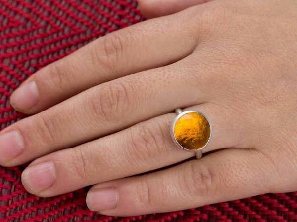 Hand Made Sterling Silver Small Amber Adjustable Pastille Ring