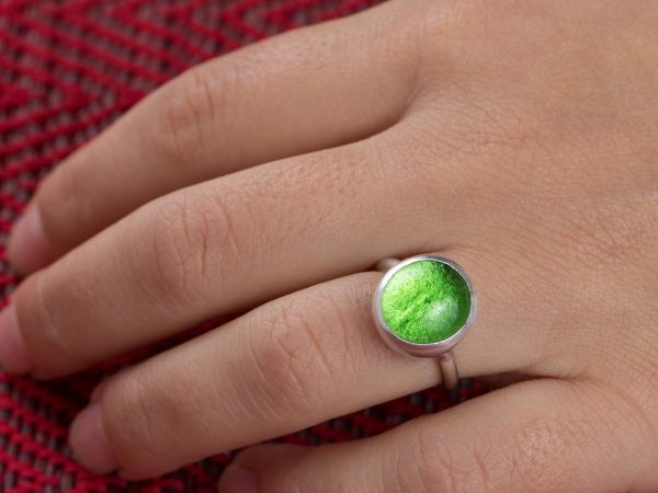 Hand Made Sterling Silver Small Peridot Green Adjustable Pastille Ring