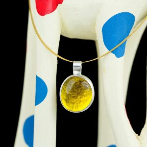 Hand Made Sterling Silver Big Lemon Yellow Pastille Pendant