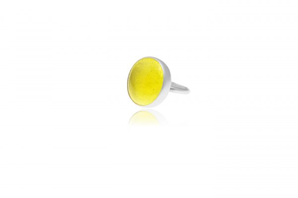 Hand Made Sterling Silver Big Lemon Yellow Adjustable Pastille Ring