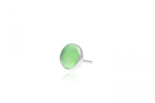 Hand Made Sterling Silver Big Peridot Green Adjustable Pastille Ring