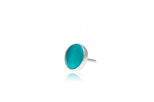 Hand Made Sterling Silver Big Teal Adjustable Pastille Ring