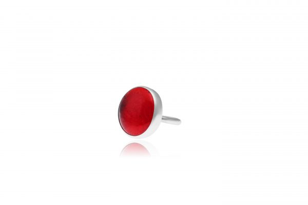 Hand Made Sterling Silver Big Fire Red Adjustable Pastille Ring
