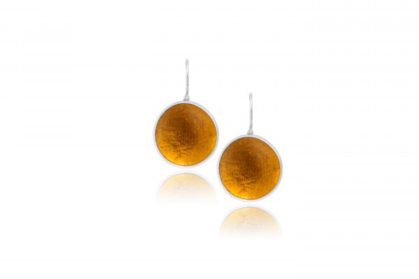 Hand Made Sterling Silver Big Amber Pastilles Earrings