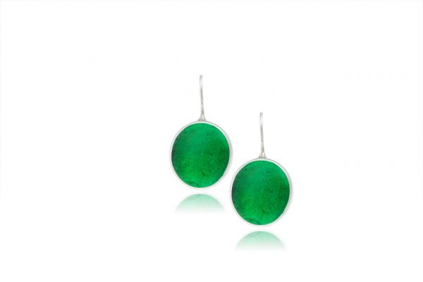Hand Made Sterling Silver Big Emerald Green Pastilles Earrings