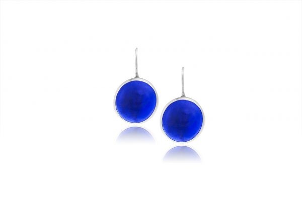 Hand Made Sterling Silver Small Sapphire Royal Blue Pastilles Earrings