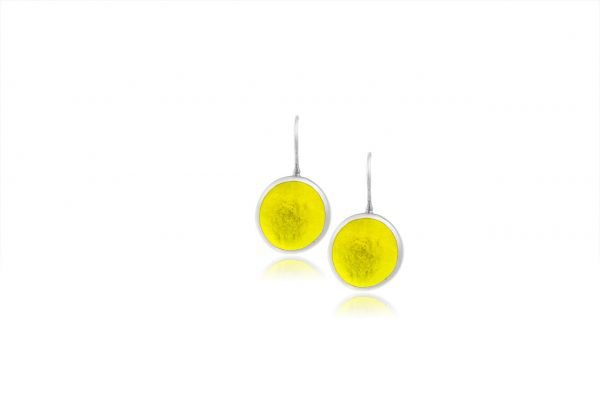 Hand Made Sterling Silver Small Lemon Yellow Pastilles Earrings