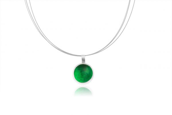 Hand Made Sterling Silver Small Emerald Green Pastille Pendant