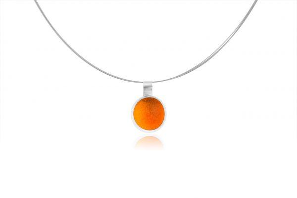 Hand Made Sterling Silver Small Caviar Orange Pastille Pendant