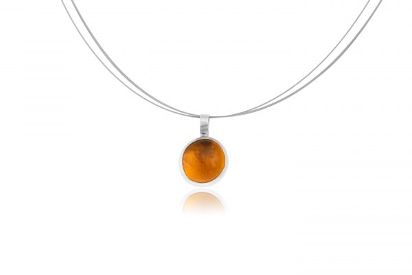 Hand Made Sterling Silver Small Amber Pastille Pendant