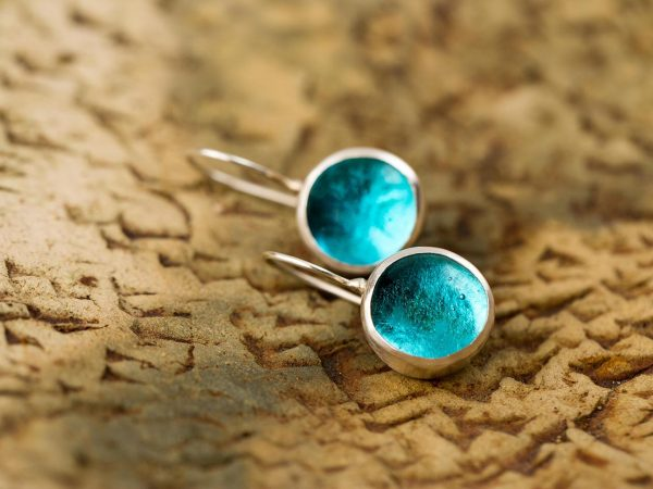 Hand Made Sterling Silver Small Blue Topaz Pastilles Earrings