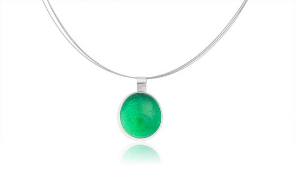 Hand Made Sterling Silver Big Emerald Green Pastille Pendant