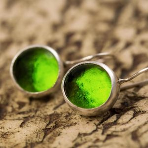 peridot green pastilles earrings