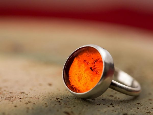 Hand Made Sterling Silver Small Caviar Orange Adjustable Pastille Ring