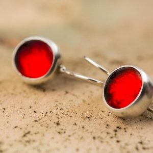 Hand Made Sterling Silver Small Fire Red Pastilles Earrings