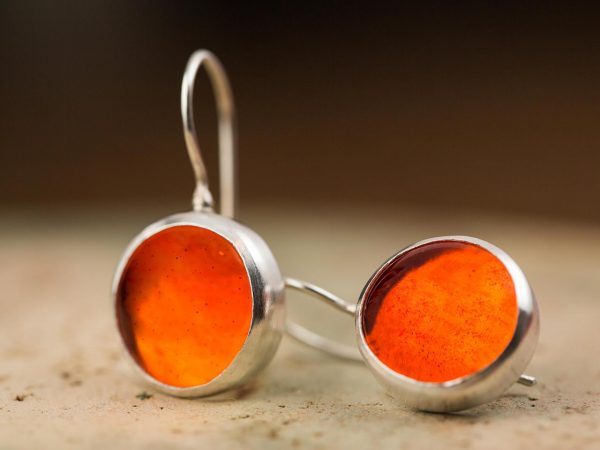 Hand Made Sterling Silver Small Caviar Orange Pastilles Earrings