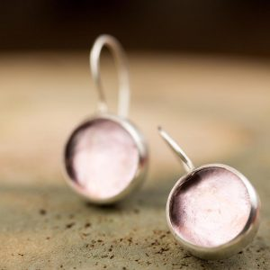 Hand Made Sterling Silver Small Light Rose Pastilles Earrings