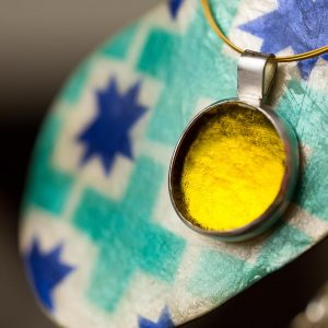 Hand Made Sterling Silver Small Lemon Yellow Pastille Pendant