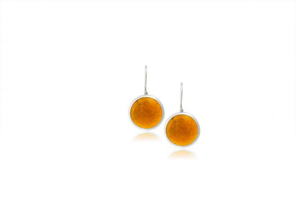Hand Made Sterling Silver Small Amber Pastille Earrings