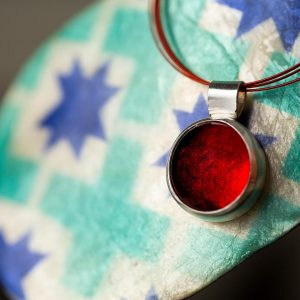 Hand Made Sterling Silver Small Fire Red Pastille Pendant