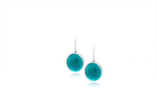 Hand Made Sterling Silver Small Teal Pastilles Earrings