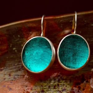 Hand Made Sterling Silver Big Teal Pastilles Earrings