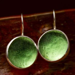 Hand Made Sterling Silver Big Peridot Green Pastilles Earrings