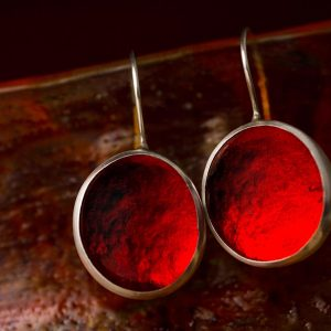 Hand Made Sterling Silver Big Fire Red Pastilles Earrings
