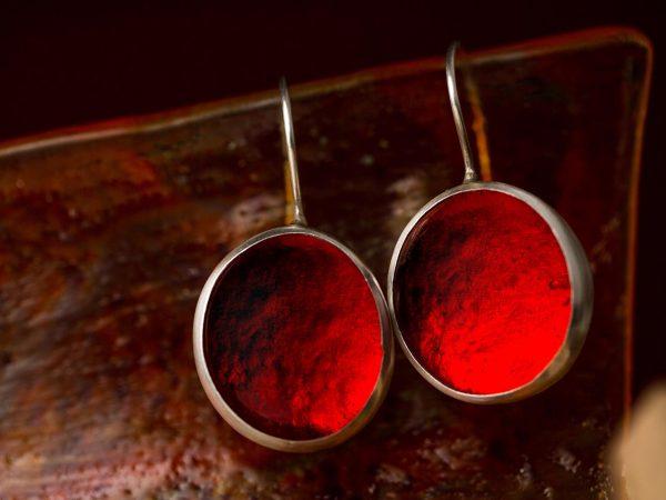 fire red pastilles earrings