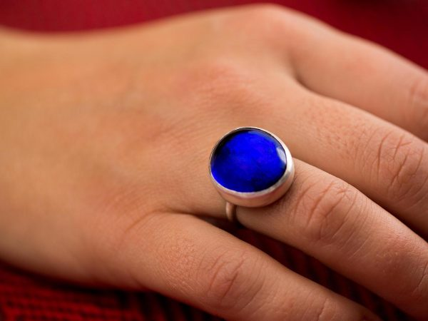 Hand Made Sterling Silver Big Royal Sapphire Blue Pastille Ring