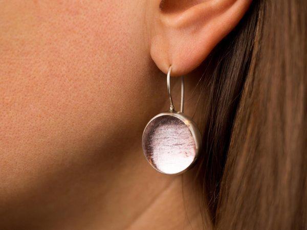 Hand Made Sterling Silver Big light Rose Pastilles Earrings