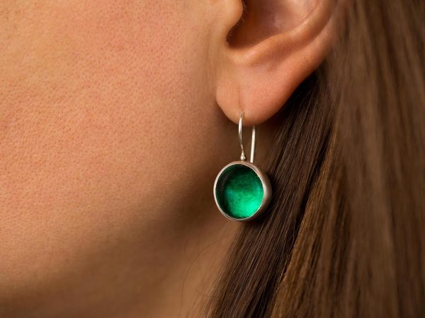Hand Made Sterling Silver Small Emerald Green Pastilles Earrings
