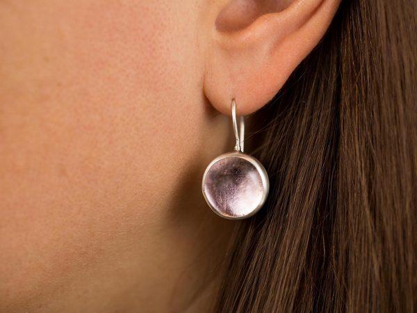 Hand Made Sterling Silver Small Light Rose Pastilles Earrings