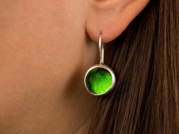 Hand Made Sterling Silver Small Peridot Green Pastilles Earrings