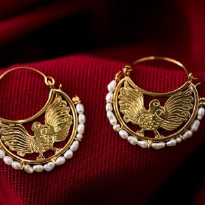 Hand Made Sterling Silver Gold Plated Eagles Byzantine Hoops