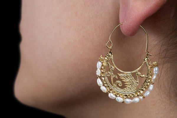 swan byzantine gold earrings