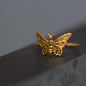 Hand Made Sterling Silver Gold Plated Small Butterfly Ring