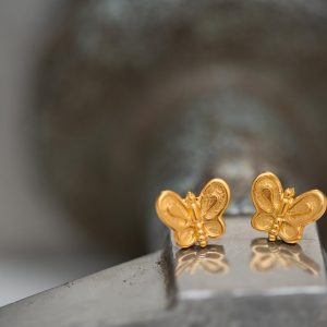 Hand Made Sterling Silver Gold Plated Dainty Butterfly Studs